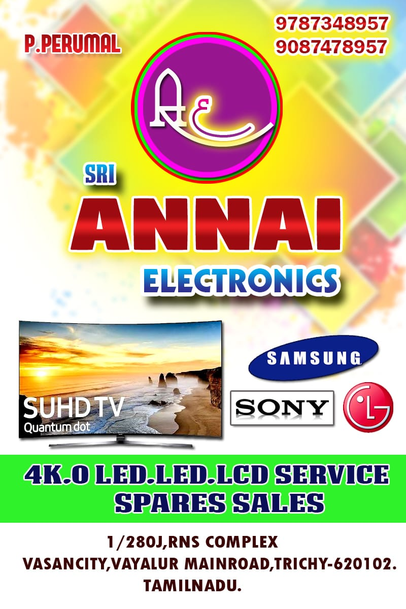 Samsung,Sony,LG,Intex,Micormax LED & LCD TV Service ,Repair & Spares Sales Center in Trichy